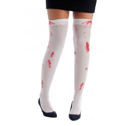 Bas Blanc Ensanglanté Femme - Déguisement Zombie Halloween The Duck