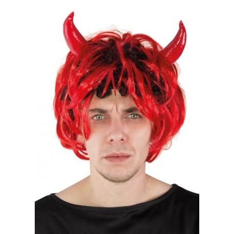 Perruque de Diable à Corne Rouge Homme -