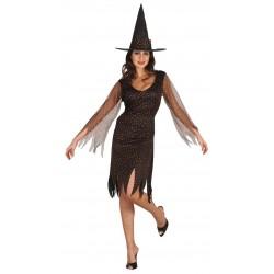 Cedéguisementde sorcièrepourfemmeest composé d'une robe et d'un chapeau (chaussures non inclus).