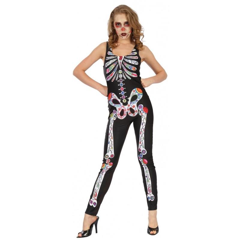 d guisement combinaison de squelette dia de los muertos femme costumes fant mes squelettes. Black Bedroom Furniture Sets. Home Design Ideas