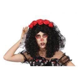 Serre-tête Voiles à fleurs Dia de Los Muertos Femme