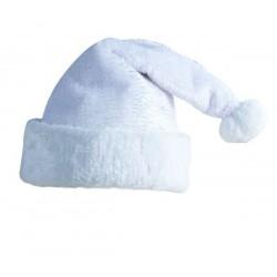 Bonnet de Père Noël blanc avec des filaments argentés Adulte