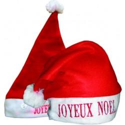 Bonnet de Mère Noël Rouge Lumineux JOYEUX NOEL Adulte