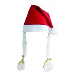 Bonnet de Mère-Noël rouge à tresses Adulte