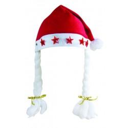 Bonnet de Mère-Noël Lumineux à tresses Adulte