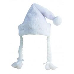 Bonnet de Mère-Noël Blanc Lumineux effet Peluche Adulte