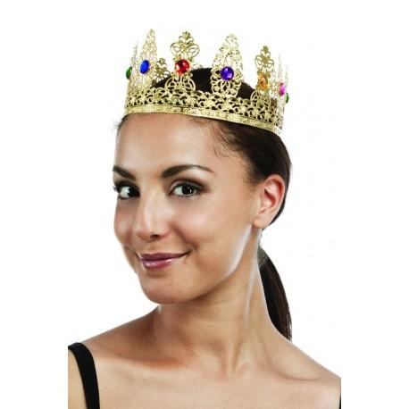 Couronne de Reine Dorée Femme Luxe - Costume Reine femme - Déguisement reine femme The Duck