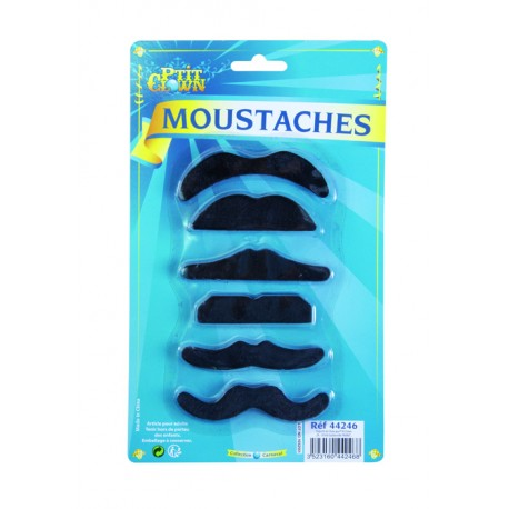 Moustaches Noir autocollante Adulte - Déguisement moustache - Costume moustache The Duck