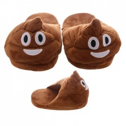 Chaussons Crotte Emoticone marron - Objet insolite Chausson - Cadeau geek chausson The Duck