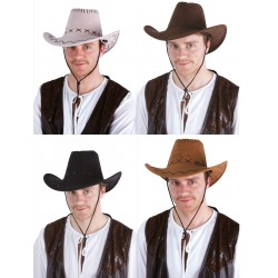 Chapeau de Cowboy Nubuck Adulte - Déguisement Cow Boy Adulte The Duck