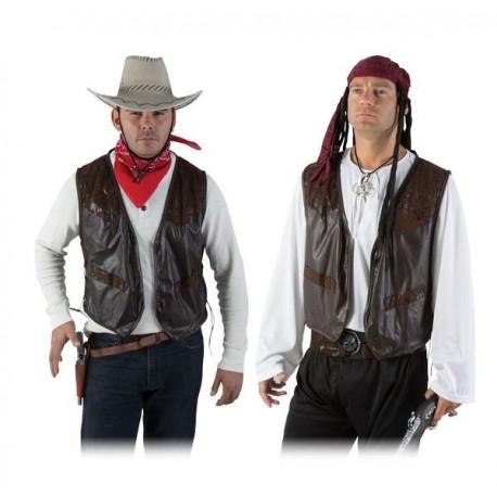 Gilet sans manche en simili cuir Marron Adulte - Costume cow boy - Déguisement cow boy The Duck