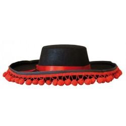 Chapeau Espagnol Adulte Noir à Cordelette Rouge