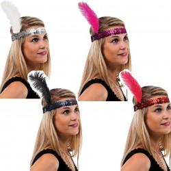 Bandeau Charleston Sequins avec plume Femme - Costume charleston femme - Déguisement charleston femme The Duck
