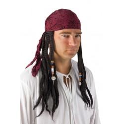Perruque de Pirate noir avec dreadlocks et foulard rouge Adulte