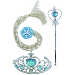 Set de Reine de la Neige : diadème, baguette et tresse