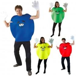 Cecostume de bonbon colorépouradulte estcomposé d'une combinaison ronde en forme de bonbon avec un visage imprimé au centre et d'une paire de gants. Croquant ou fondant, sucré ou amer, à vous de voir !