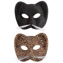 Masque loup de chat en tissu suédé Adulte