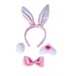 Set de Lapin rose et blanc Adulte : serre-tête, queue, noeud papillon et museau