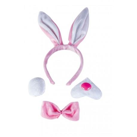 Serre-tête oreilles de Lapin rose et blanc Adulte - costume animaux - déguisement animaux The Duck