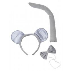 Kit de Souris grise Adulte : Serre-Tête, Queue & Noeud papillon