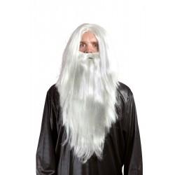Perruque et Barbe de Magicien Blanche Adulte