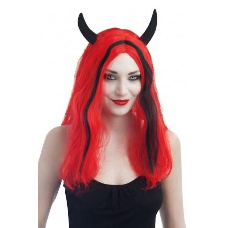 Perruque Diablesse Femme Rouge Noir - Déguisement diablesse femme The Duck