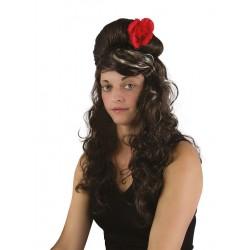 Perruque Cabaret brune à fleur rouge femme AMY