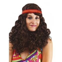 Perruque de Hippie Femme marron - Déguisement hippie Femme année 60 The Duck
