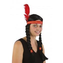 Perruque d'Indienne Femme à tresses - Déguisement indien femme Western The Duck