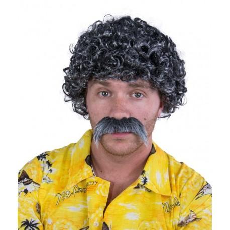Perruque et moustache courte frisée Homme