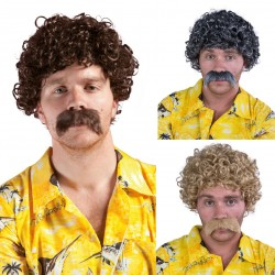 Perruque et moustache courte frisée Homme LUCIEN