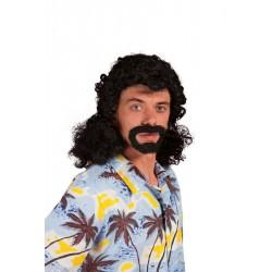 Perruque et barbe noir Homme JACKY