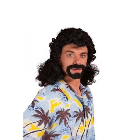 Perruque et barbe noir Homme JACKY - Déguisement année 70 Homme The Duck