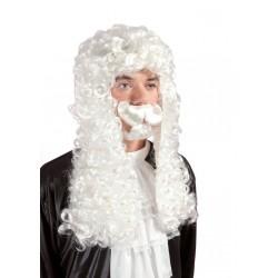 Kit de Juge : Perruque, Moustache & Barbichette blanches Adulte