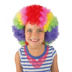 Perruque de Clown Afro multicolore Enfant