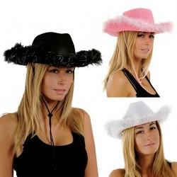 Chapeau de Cow Girl Femme avec plumes - Déguisement Cow Girl Femme The Duck