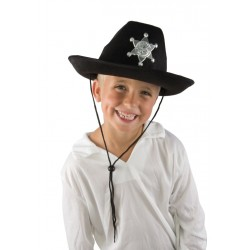 Chapeau de Shérif Enfant noir feutre - Déguisement Cow Boy Enfant Western The Duck