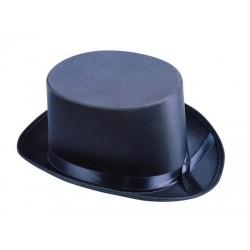 Chapeau Haut de Forme Adulte en tissu satiné noir