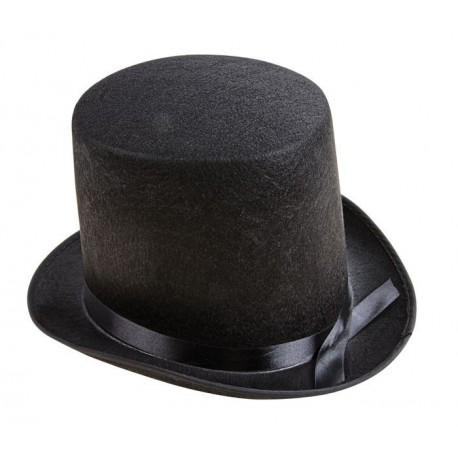 Chapeau Haut de Forme Adulte feutre noir 15cm - Déguisement Charleston Homme The Duck
