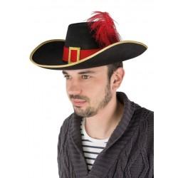 Chapeau de Mousquetaire Adulte Noir Rouge - Déguisement Mousquetaire Adulte Renaissance The Duck