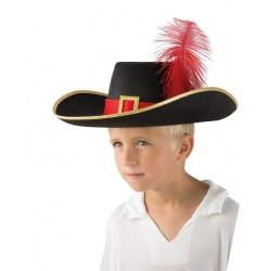 Chapeau de Mousquetaire Enfant feutre noir