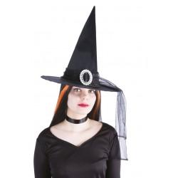 Chapeau de Sorcière Femme noir avec boucle argentée