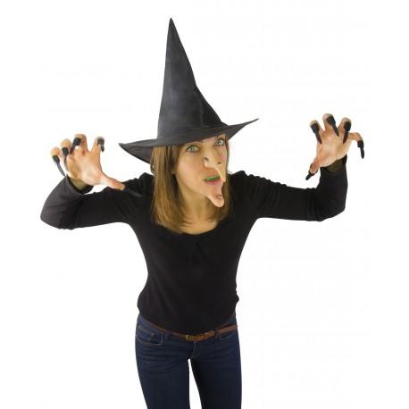 Kit de Sorcière Adulte : chapeau, menton, nez, dentier et ongles - Déguisement Sorcière Femme Halloween The Duck