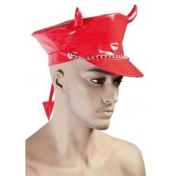 Casquette de Diable Adulte en vinyl rouge