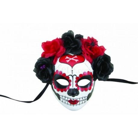 Masque Day of the Dead Adulte avec fleurs - Déguisement Day of the Dead Adulte Halloween The Duck