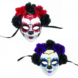 Masque Day of the Dead Adulte avec fleurs - Déguisement Day of the Dead Adulte Halloween The Duck
