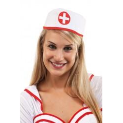 Chapeau d'Infirmière Femme blanche & rouge