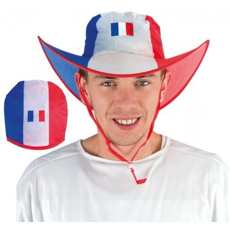 Chapeau de Cowboy France Adulte pliable - Déguisement supporter france Adulte The Duck