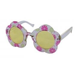 Lunettes de Hippie à Fleurs Adulte rose & blanc