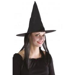 Chapeau noire de Sorcière Femme avec cheveux
